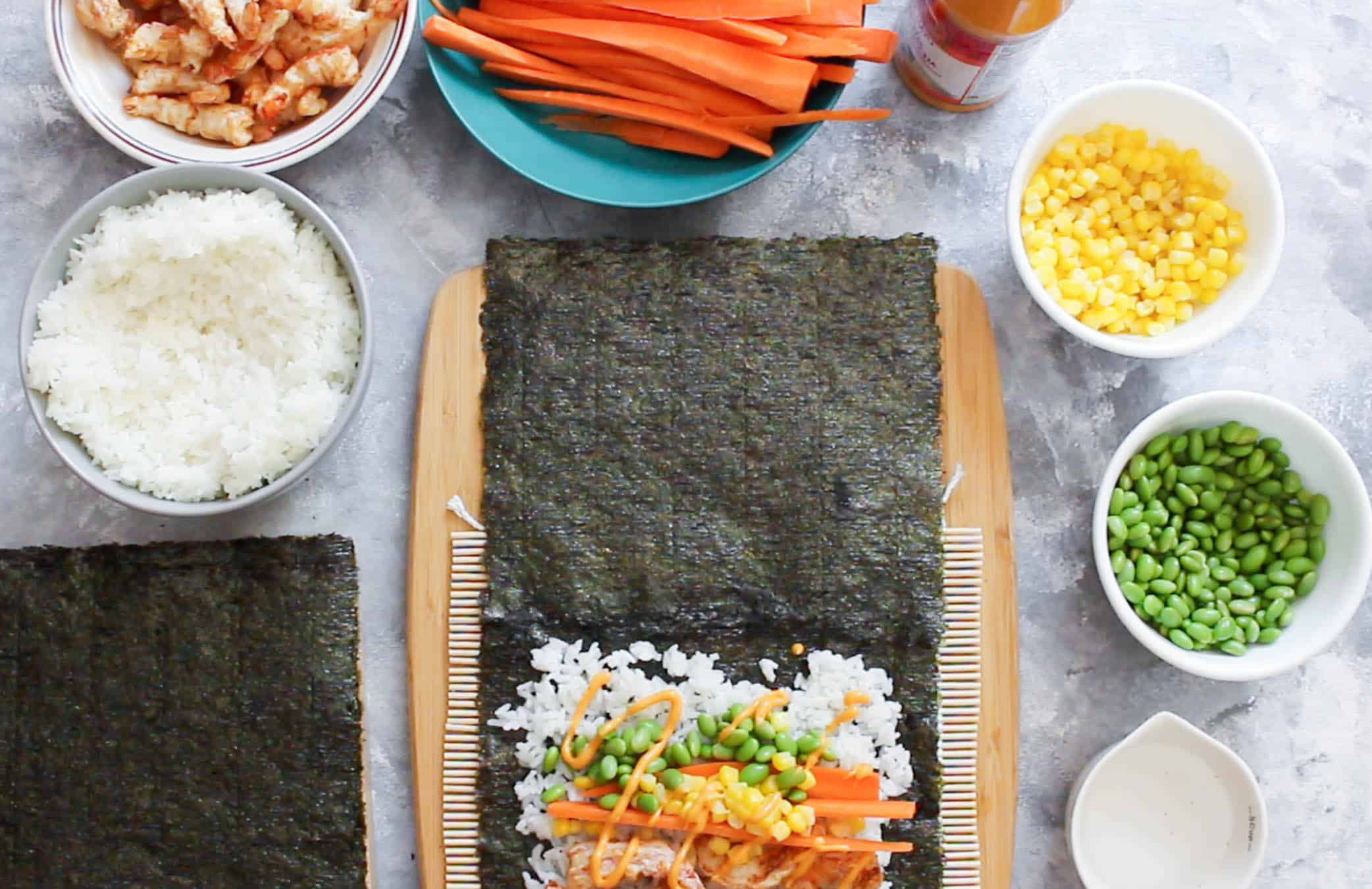 This AirFryer Shrimp Tempura Sushi Burrito is the perfect lunch meal prep! Easy to grab and go, heat not required, and healthy, this sushi burrito will be your go-to lunch!