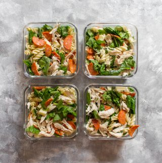 Perfect for hot summer days, this easy chicken pepperoni pasta salad is just what you need! Plus, this pasta salad is great for meal preps if you have don't have access to a microwave.