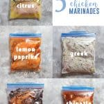 These 5 easy chicken marinade recipes are freezer-friendly, effortless to prepare, and totally delicious! These are the perfect chicken marinades for meal prepping, grilling, panfrying, Instant Pot, and more!
