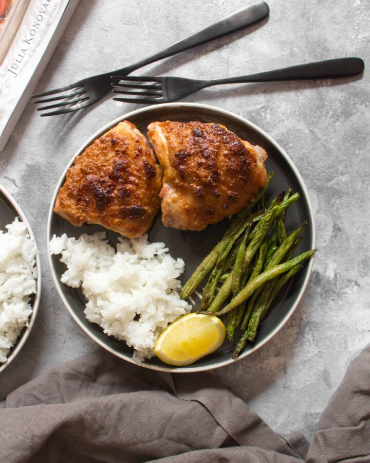 Juicy, tender, and delicious, these Chicken Thighs in Peanut Sauce with Green Beans are made in one pan and is the perfect weeknight dinner or meal prep for the week!