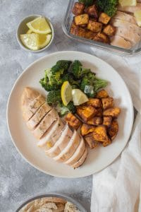 This Rosemary Citrus Chicken Meal Prep is quite a refreshing dish - is so light and the acid gives it such a fresh flavour. Made with a combination of lemon, lime, orange juice, and rosemary, you're going to want to drink it up! Made with cinnamon roasted sweet potatoes and parmesan broccoli, this meal prep will make you excited for your work day.