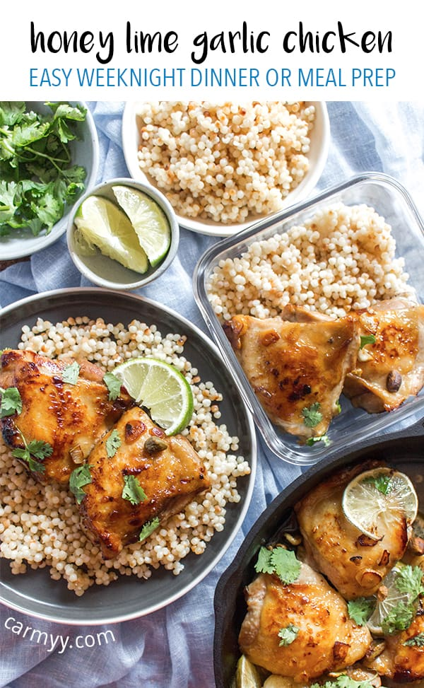 Made in one pan and ready in 30 minutes, this Honey Lime Garlic Chicken with Pistachios is the perfect easy chicken dinner! Packed with flavour, this Honey Lime Garlic Chicken is just delightful!