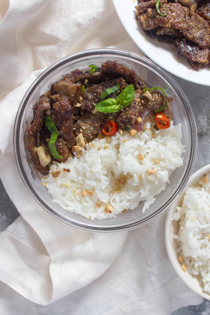 This easy thai beef stir fry meal prep takes less than 45 minutes to put together - perfect as a quick meal prep or a busy weeknight dinner.