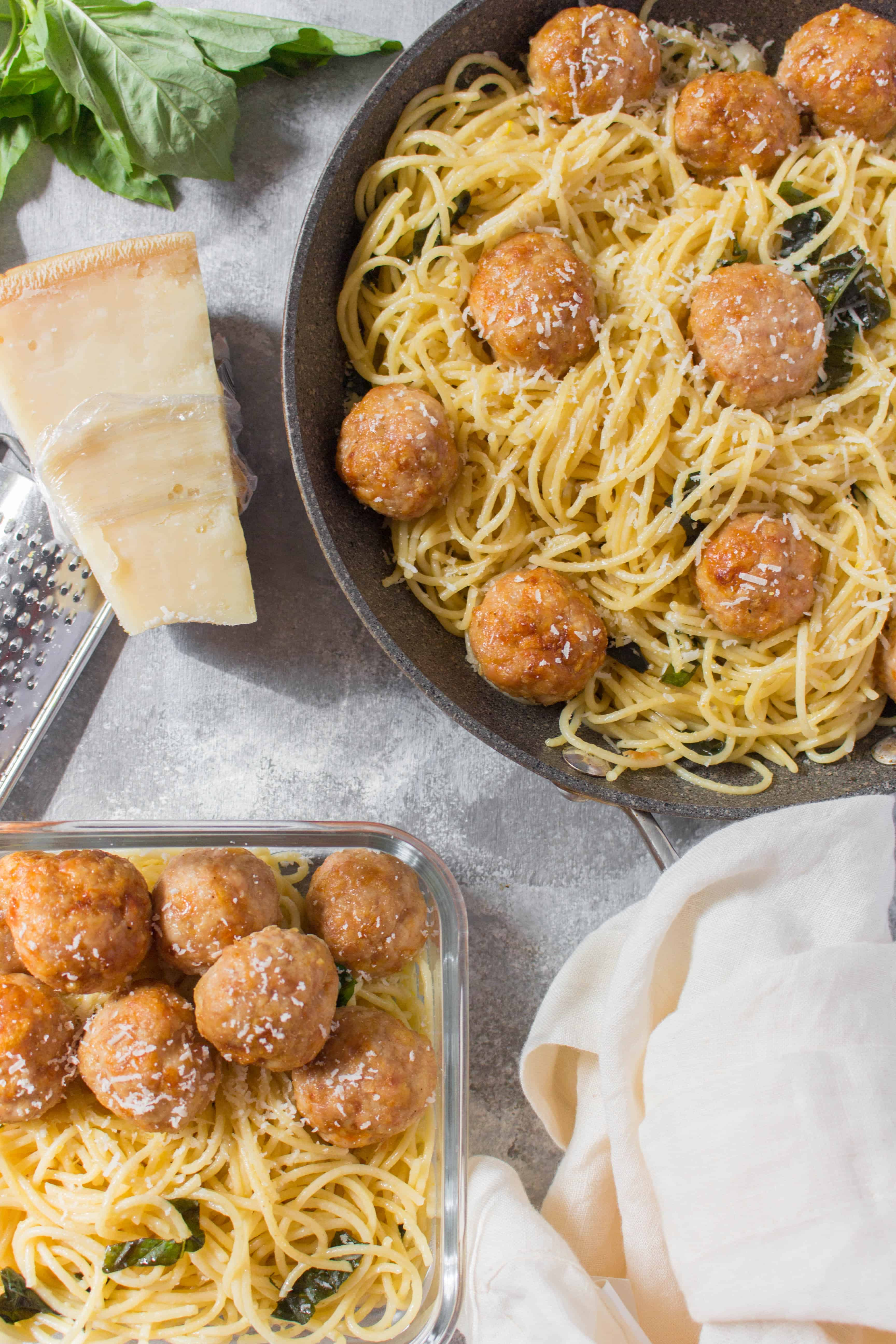 You really can't go wrong with Lemon Garlic Basil Butter Spaghetti with Chicken Meatballs for dinner! The spaghetti is so easy to whip up with pantry staples and the chicken meatballs are freezer friendly so make a batch then freeze them for when you need them!