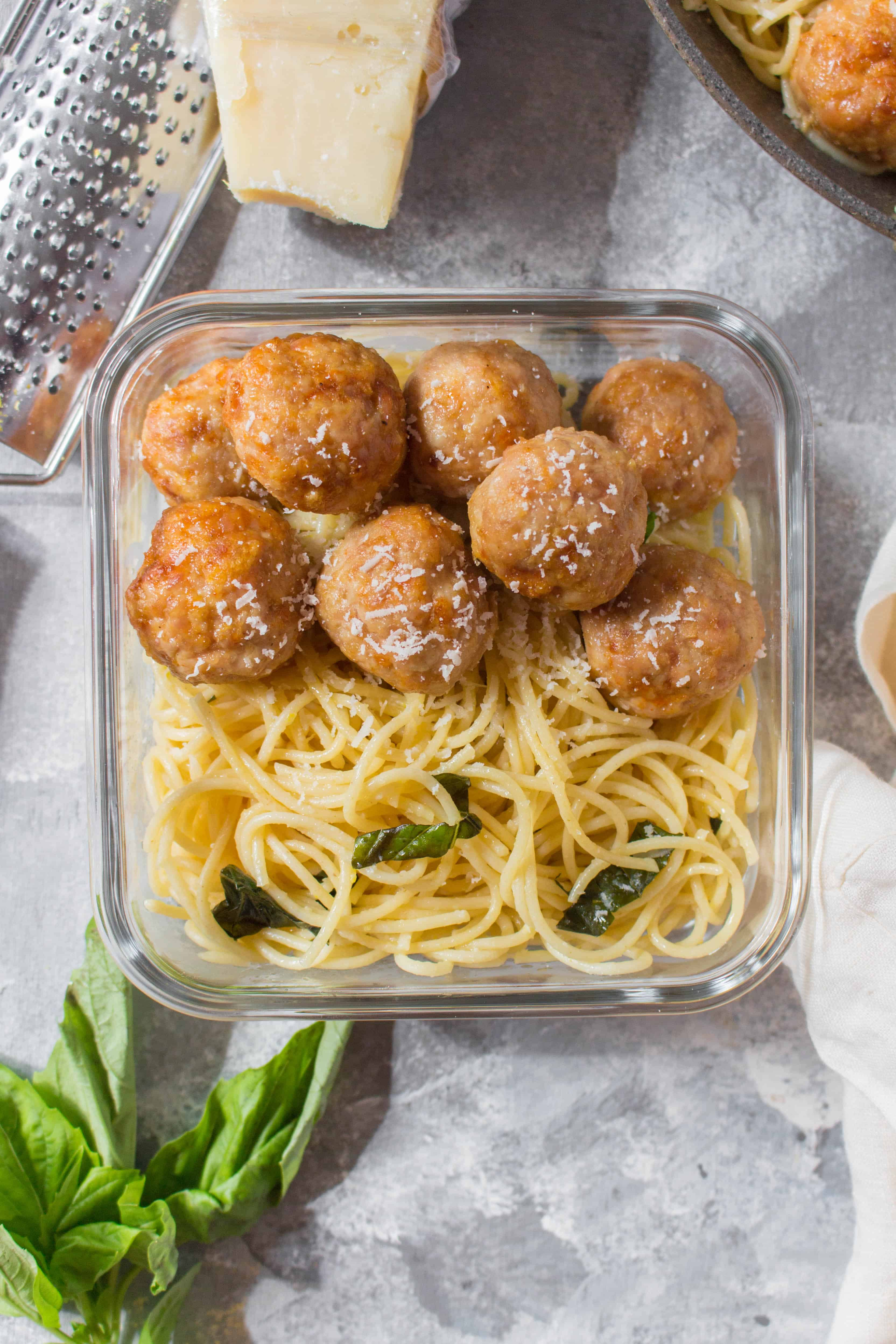 These Easy Baked Chicken Meatballs tender, juicy, and are so versatile! Great for adding to a meal prep, dinner, or as an appetizer on its own!