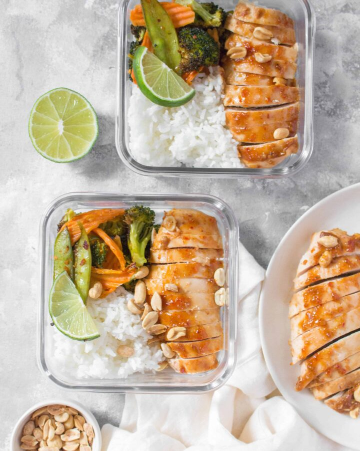 Skip the take out and make this easy Sheet Pan Thai Peanut Chicken as a weeknight dinner or as a meal prep for the week!