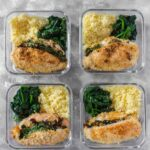 Spinach, Sun Dried Tomato, and Cheese Stuffed Chicken Meal Prep