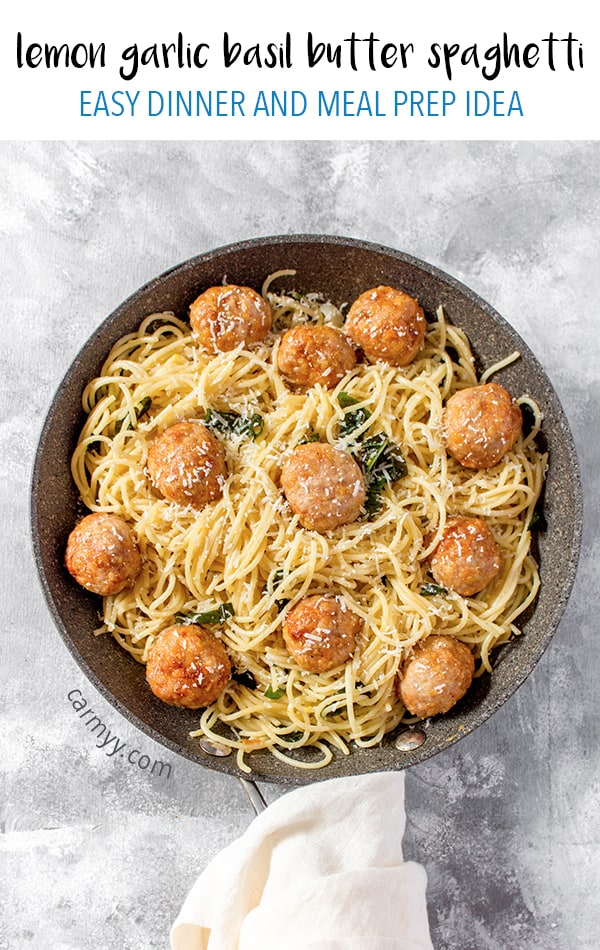 You really can't go wrong with this Lemon Garlic Basil Butter Spaghetti with Chicken Meatballs for dinner! The spaghetti is so easy to whip up with pantry staples and the chicken meatballs are freezer friendly so make a batch then freeze them for when you need them!
