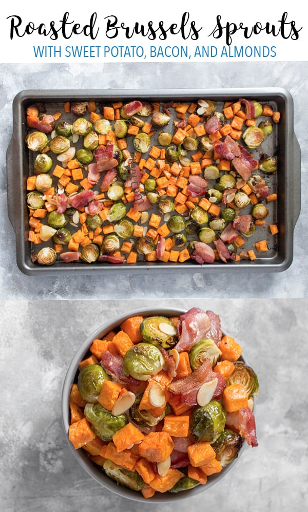 Looking for an easy holiday side dish? ThisEasy Roasted Brussels Sprouts with Sweet Potato, Bacon, and Almonds takes seconds to prep and goes with everything!