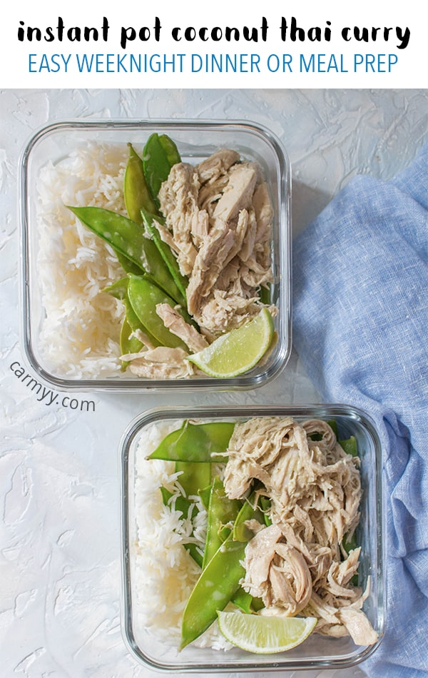 This Instant Pot Coconut Thai Curry Chicken Meal Prep has been the easiest meal prep I've done to date! Prep your lunch or dinner for the week with thisCoconut Thai Curry Chicken Meal Prep. (Slow cooker alternative available for this meal prep down below!)