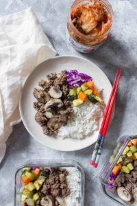 Skip the Korean take out and make these Bulgogi Korean Beef Bowls at home instead! Perfect as a weeknight dinner or as a meal prep!