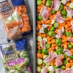Easy Roasted Brussels Sprouts with Sweet Potato, Bacon, and Almonds