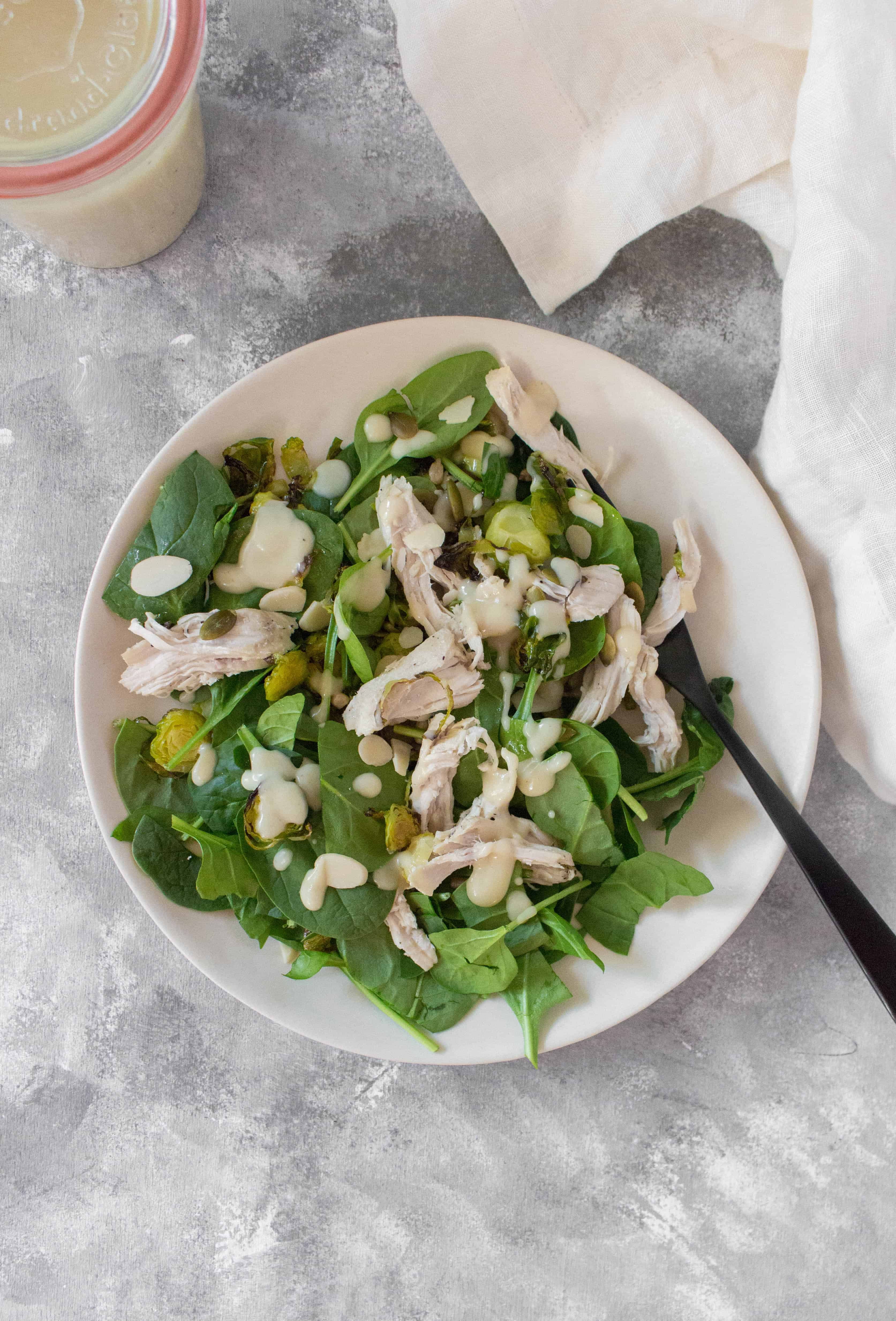 Delicious, simple, and healthy, this Healthy Chicken Mason Jar Salad is the perfect meal prep!