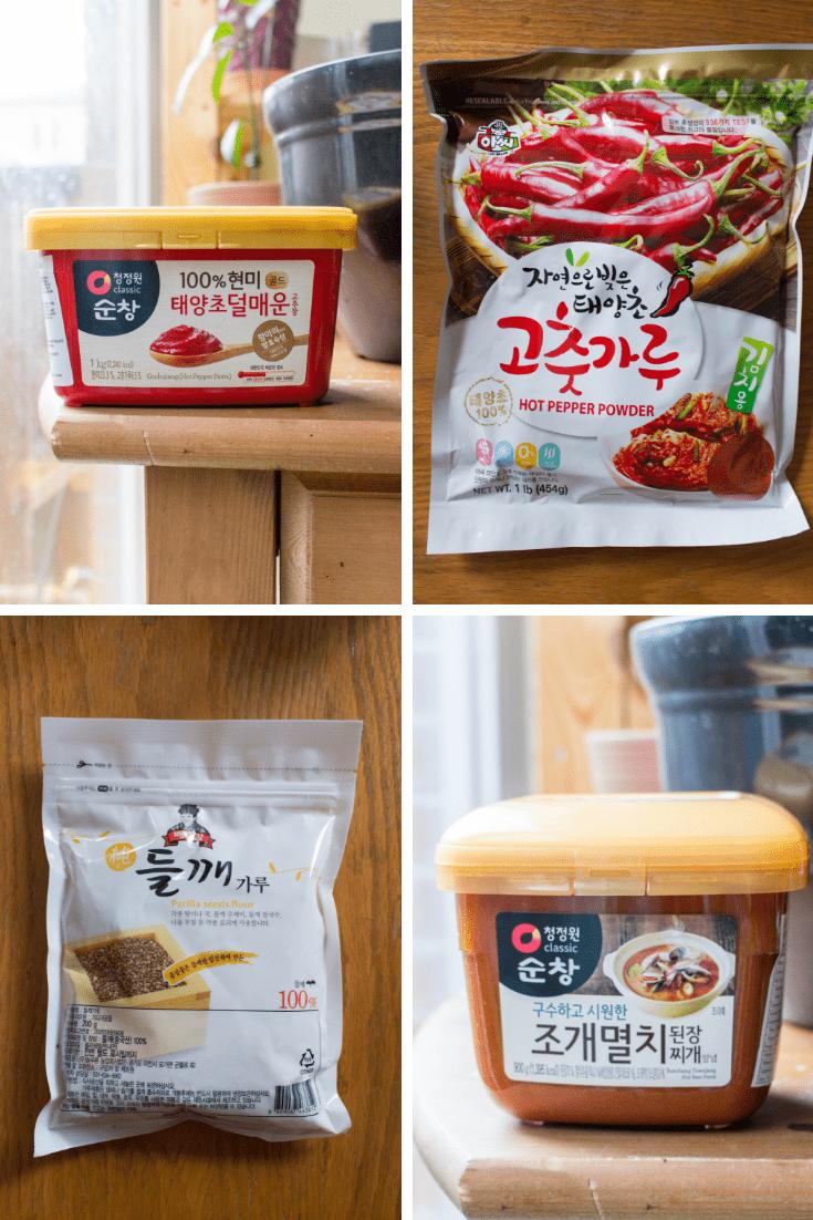 gochujang, gochugaru, perilla powder, soy bean paste