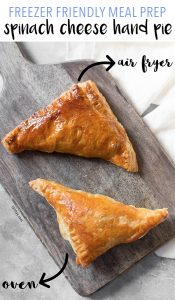 Looking for a savoury hand pie to start off the day? Try theseFreezer Friendly Spinach and Cheese Hand Pies! Both air fryer and oven instructions are included.
