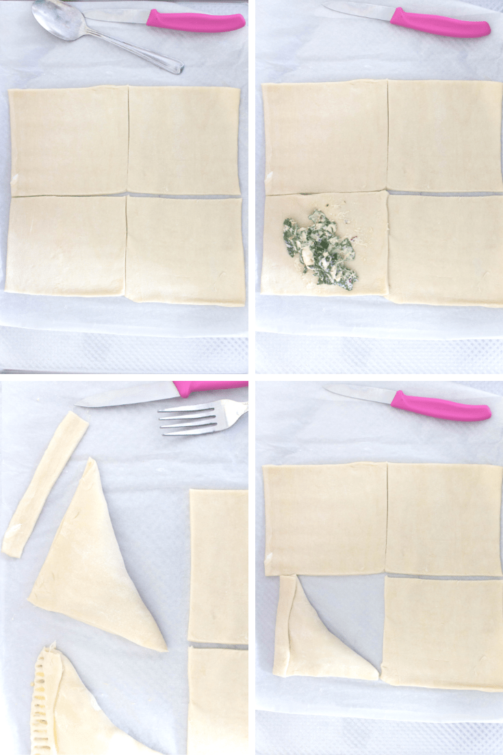 how to make savoury spinach and cheese hand pies