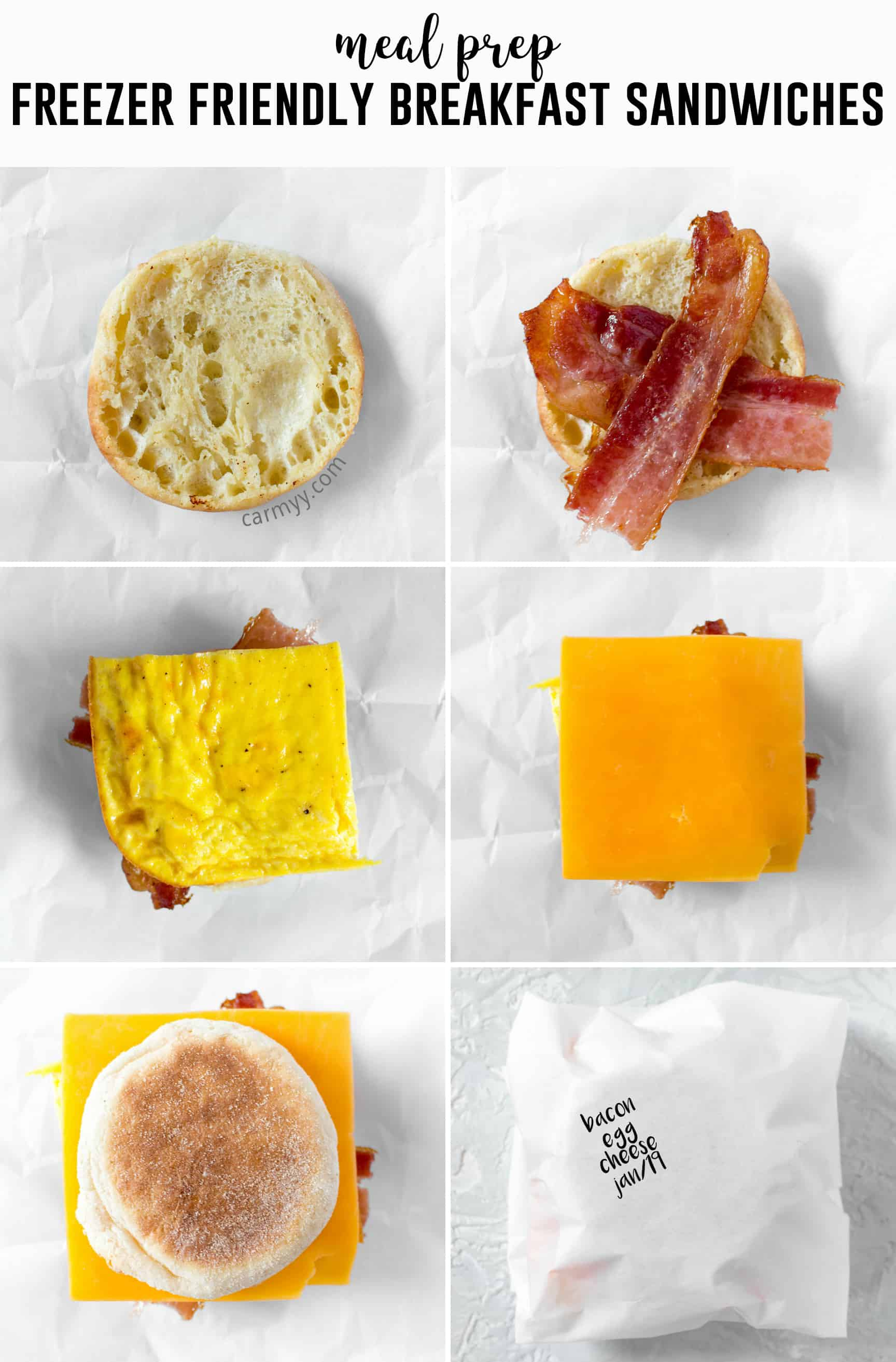 Skip the drive thru in the morning and make your own freezer friendly breakfast egg sandwiches. Make a batch, freeze it, and have a sandwich for breakfast everyday!