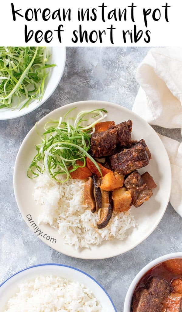 These spicy sweet but savoury Korean Instant Pot Beef Short Ribs are going to knock your socks off. It's such a cozy meal that you're going to want to make this again and again all winter.