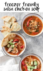 This Salsa Chicken Soup is the perfect soup for a cold day. Great as either a meal prep for lunch or an easy weeknight dinner, thisSalsa Chicken Soup is also freezer friendly!