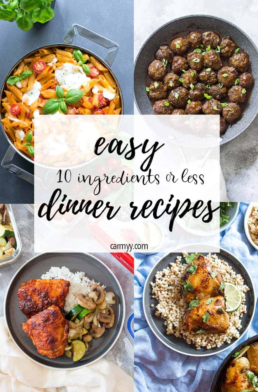 Are you looking for some easy dinner ideas to cook tonight? Check out this round up for 15 recipes that are not just easy to make but use only use 10 ingredients or less!