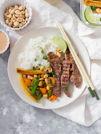 Skip the take-out tonight and try this super easy Beef Satay at home instead! Perfect as a meal prep or as a weeknight dinner.