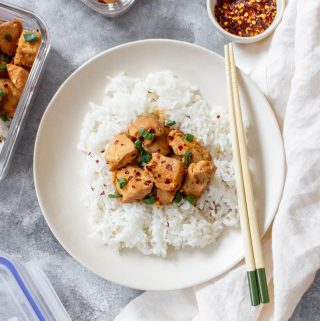 Skip the take out and make this Instant Pot Spicy Honey Garlic Chicken at home!