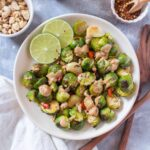 Looking to change up your regular ol' brussels sprouts? Mix things up with this Peanut Thai Chili Brussels Sprouts!