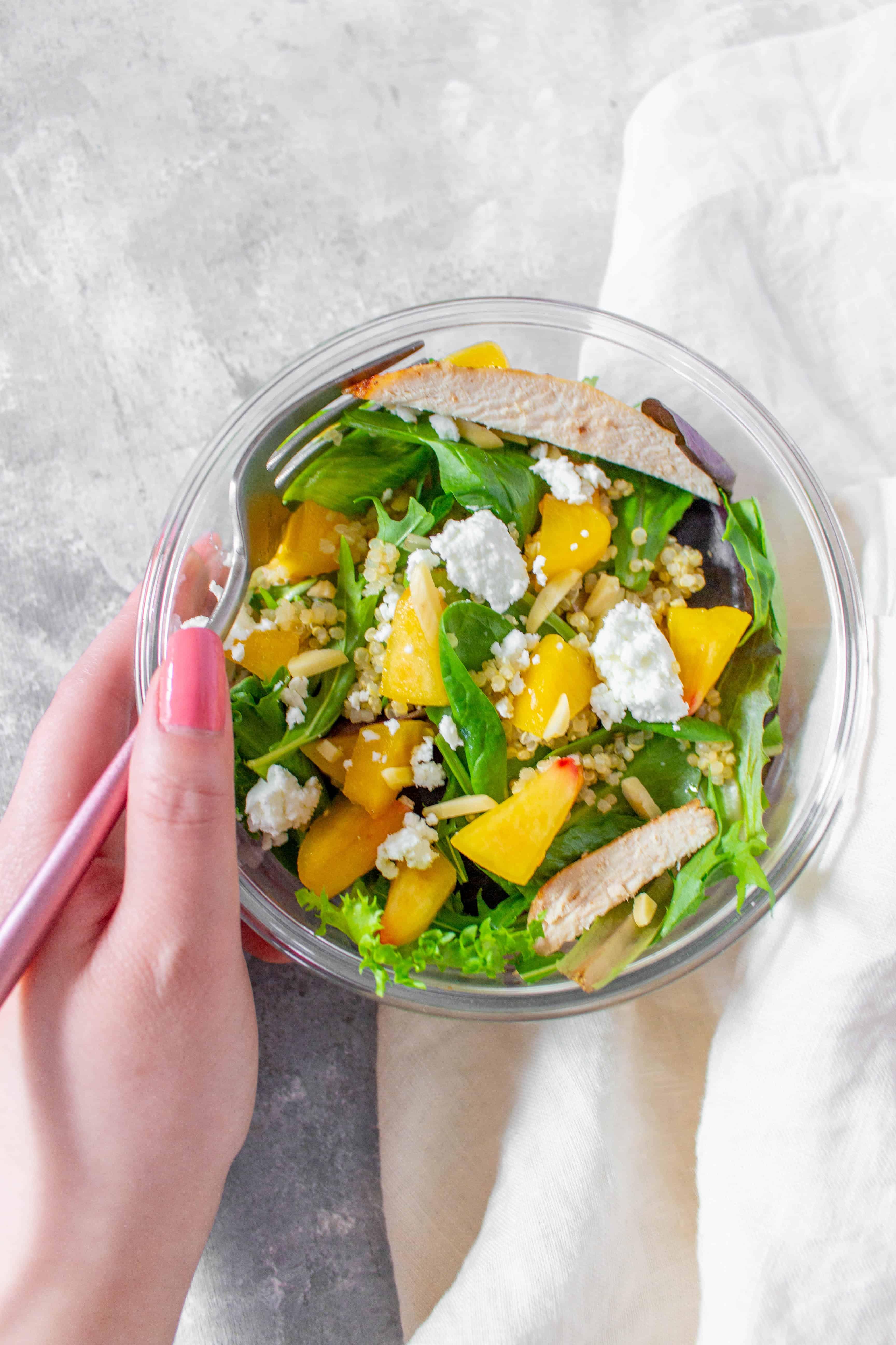 cold lunch idea: cold peach quinoa salad meal prep