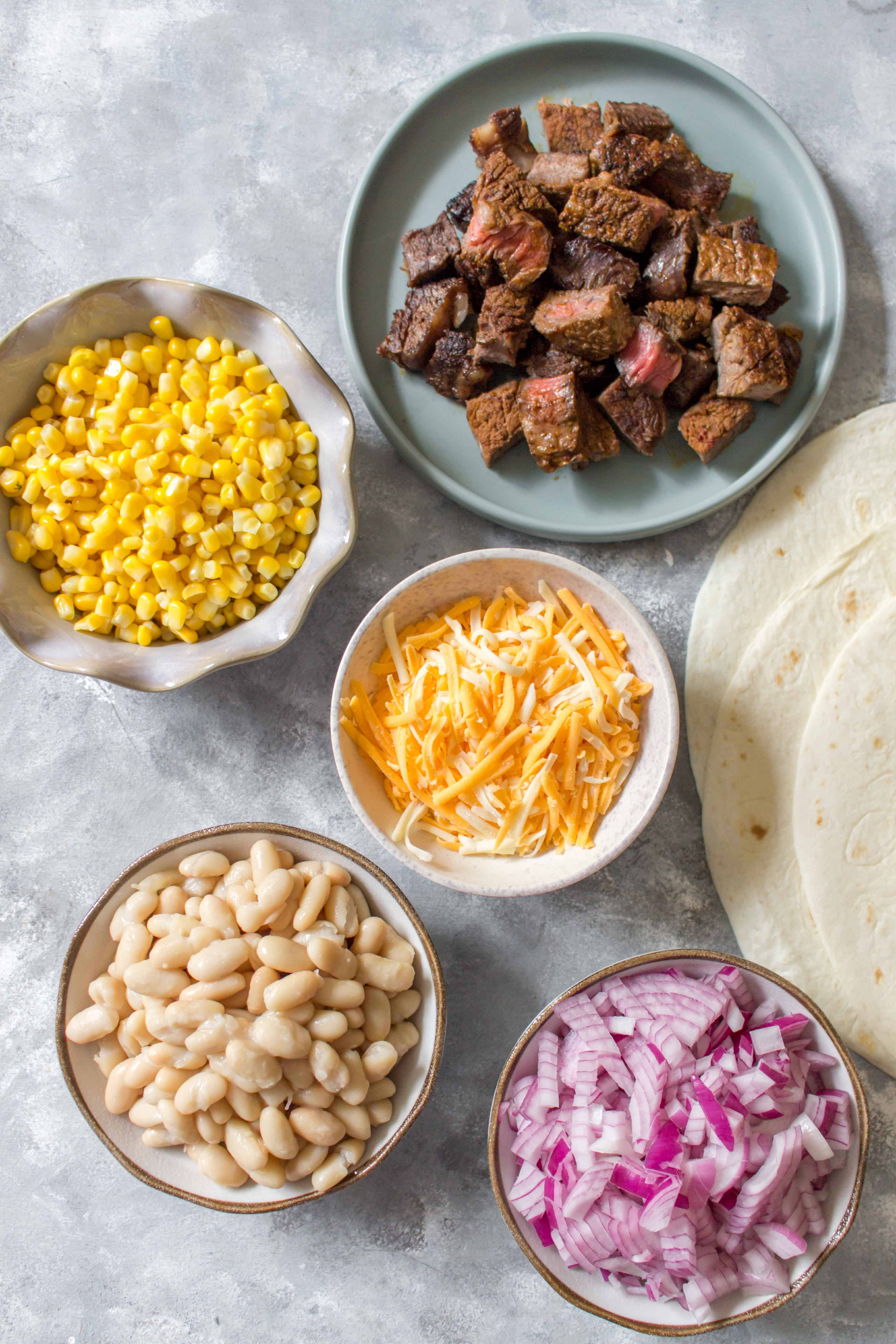 ingredients for steak burritos