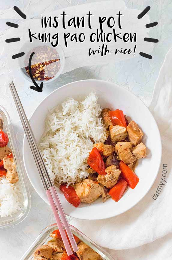 A yummy take out classic, this Instant Pot Kung Pao Chickpeas recipe is the perfect combination of sweet, salty, and spicy! The rice is made pot in pot so everything cooks together.