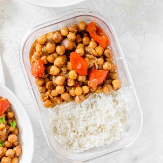 A meatless twist on a take out classic, this Instant Pot Kung Pao Chickpea recipe is the perfect combination of sweet, salty, and spicy! The rice is made pot in pot so everything cooks together.