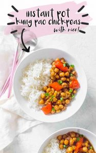 A meatless twist on a take out classic, this Instant Pot Kung Pao Chickpea recipe is the perfect combination of sweet, salty, and spicy!