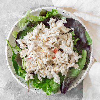 This no mayo Healthy Chicken Salad is going to be a lifesaver this summer! Healthy enough to eat regularly and easy to make, you're going to want to make this Healthy Chicken Salad all summer.