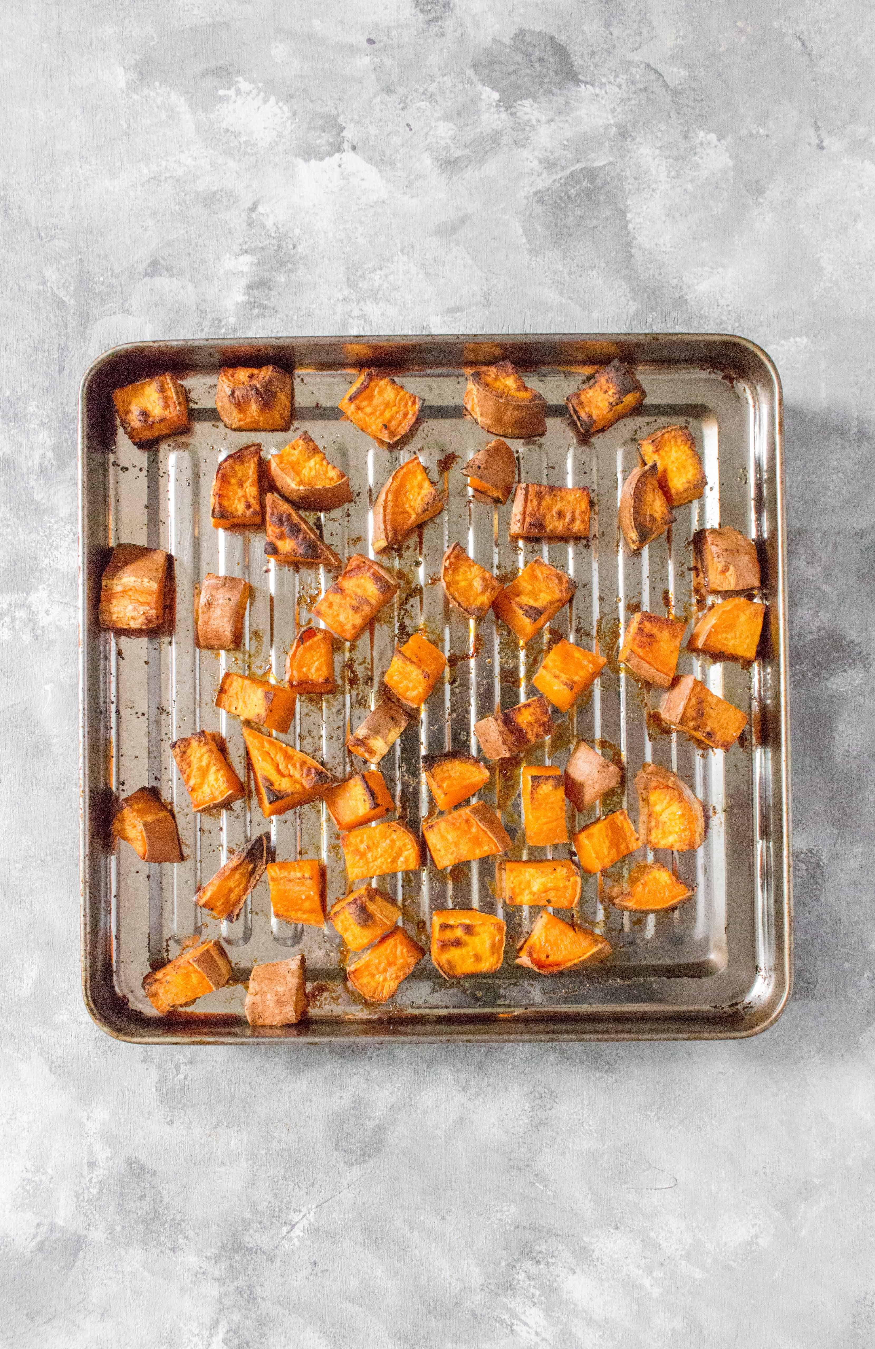 How To MakeCrispy Roasted Sweet Potato Cubes