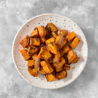 Easy to make and goes great in meal preps, salads, or as a side dish, this is how I make my simple Roasted Sweet Potato Cubes!