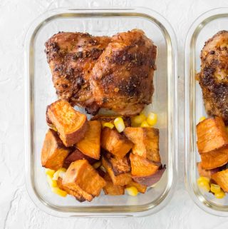 roasted cajun chicken thighs with sweet potato and corn meal prep