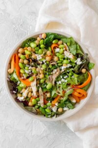 This Edamame Chickpea Salad with Couscous toss in a simple dressing, is perfect as a meal or as a side!