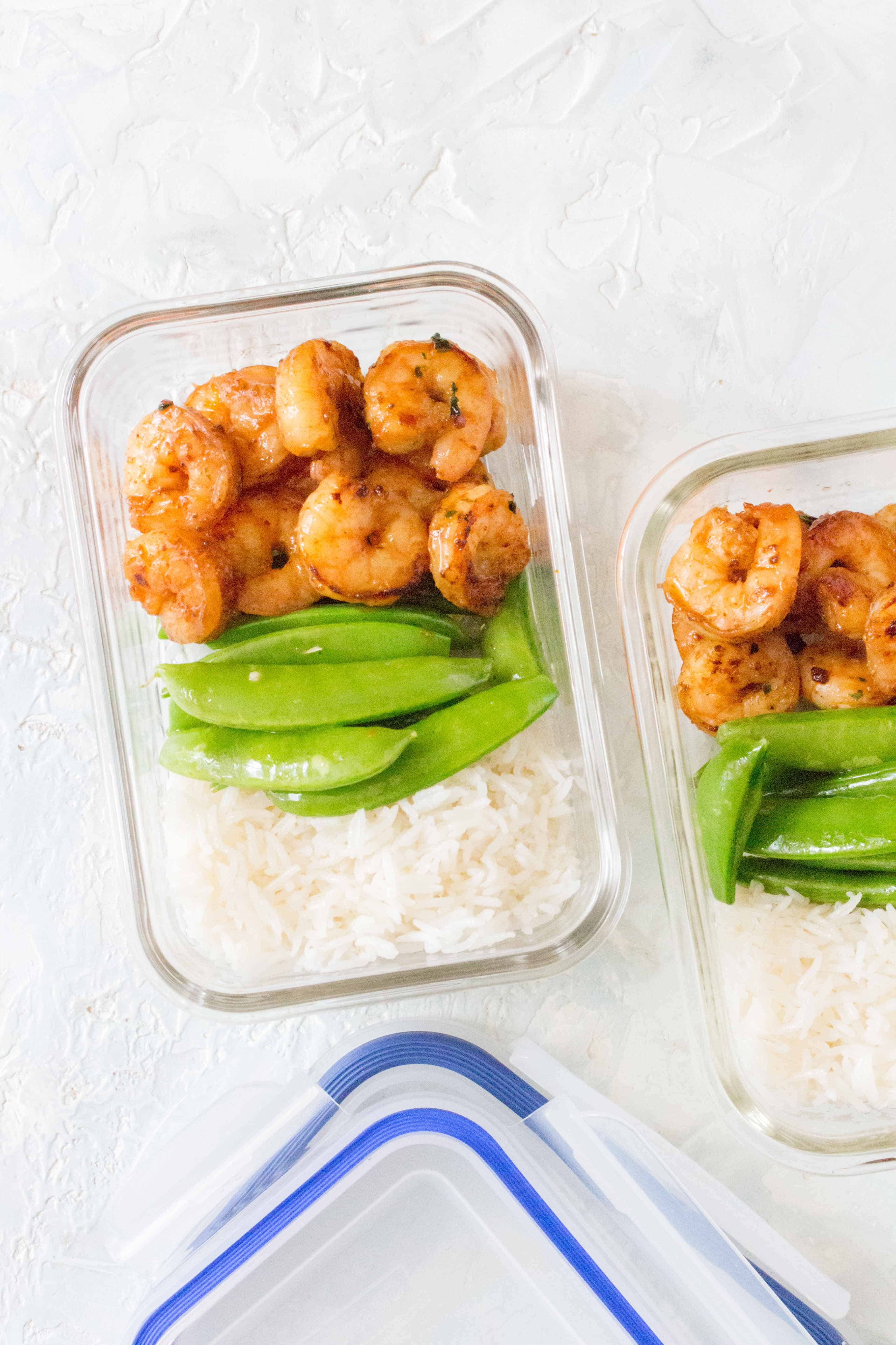 Honey Garlic Lime Shrimp in two meal prep containers.