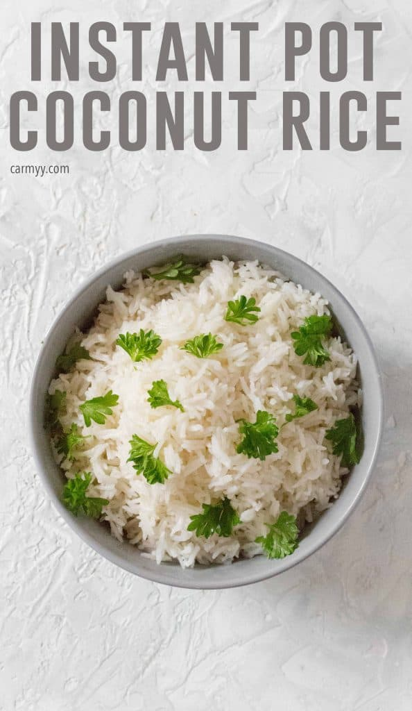 This easy Instant Pot Coconut Rice is the perfect side dish! Make it in under 16 minutes with only a couple simple ingredients!