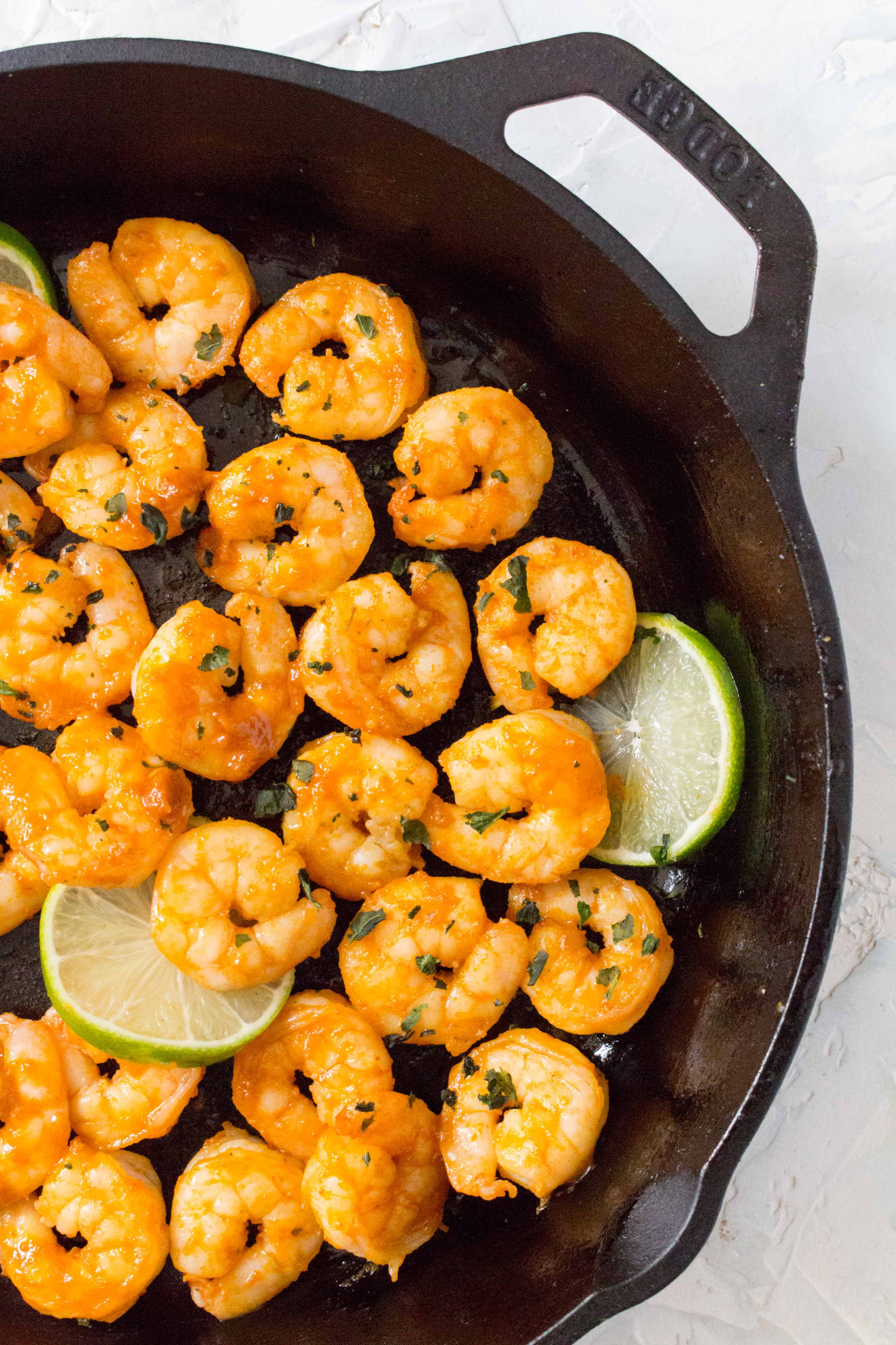 This Sriracha Lime Shrimp is perfectly pan seared, spicy, and full of flavour. Make this for your dinner or meal prep in under 20 minutes.