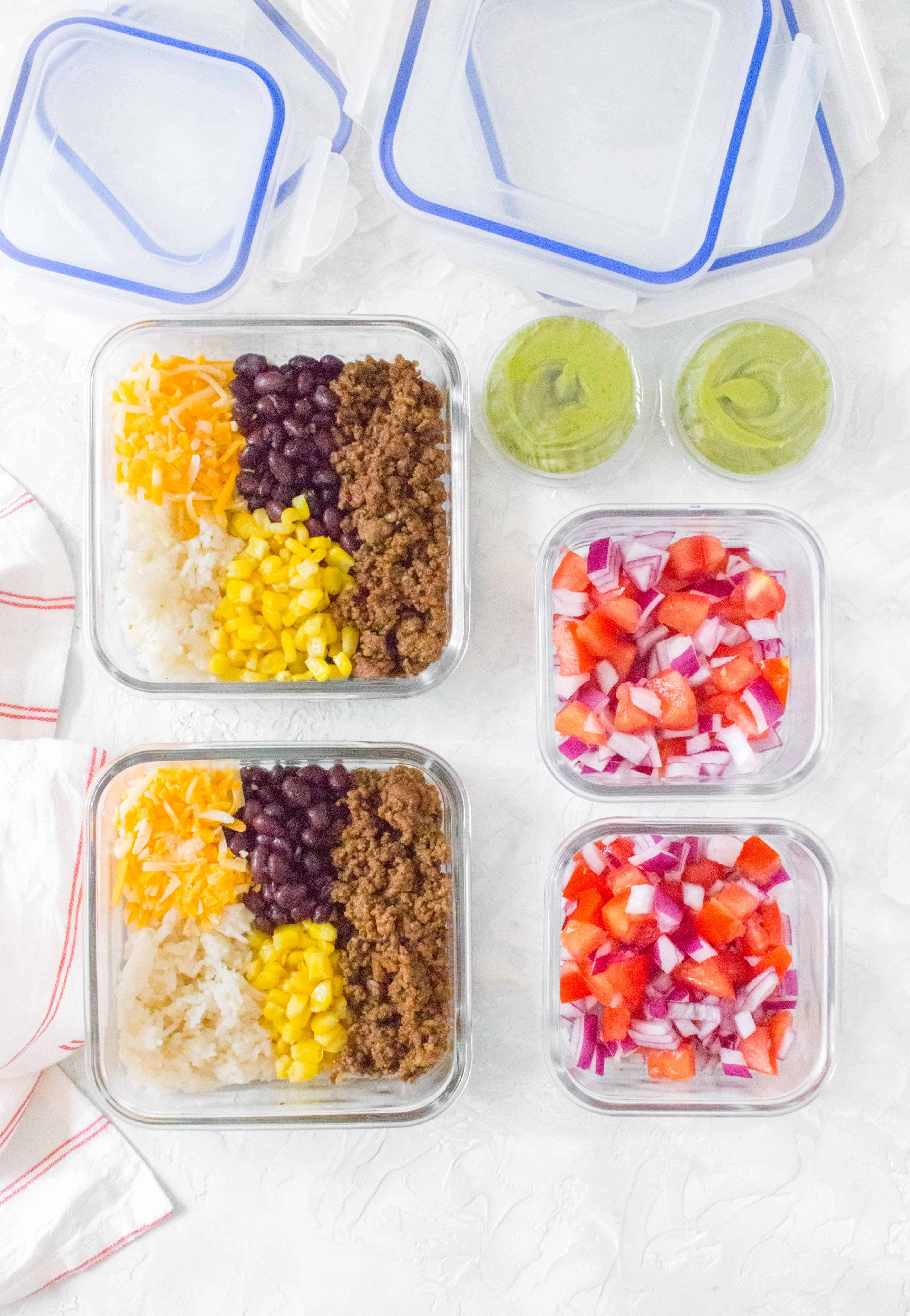 taco bowls in meal prep containers