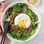 Rock your power hour with this protein packed grain bowl! Packed with healthy goodness and topped off with a poached egg that doubles as a silky dressing, this Protein Grain Bowl is quickly going to become your favourite!