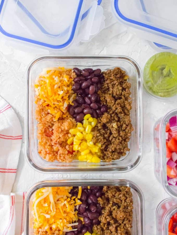 This easy and healthy Quinoa Taco Bowl Meal Prep is perfect for meal prepping! Simple, filling, and delicious!