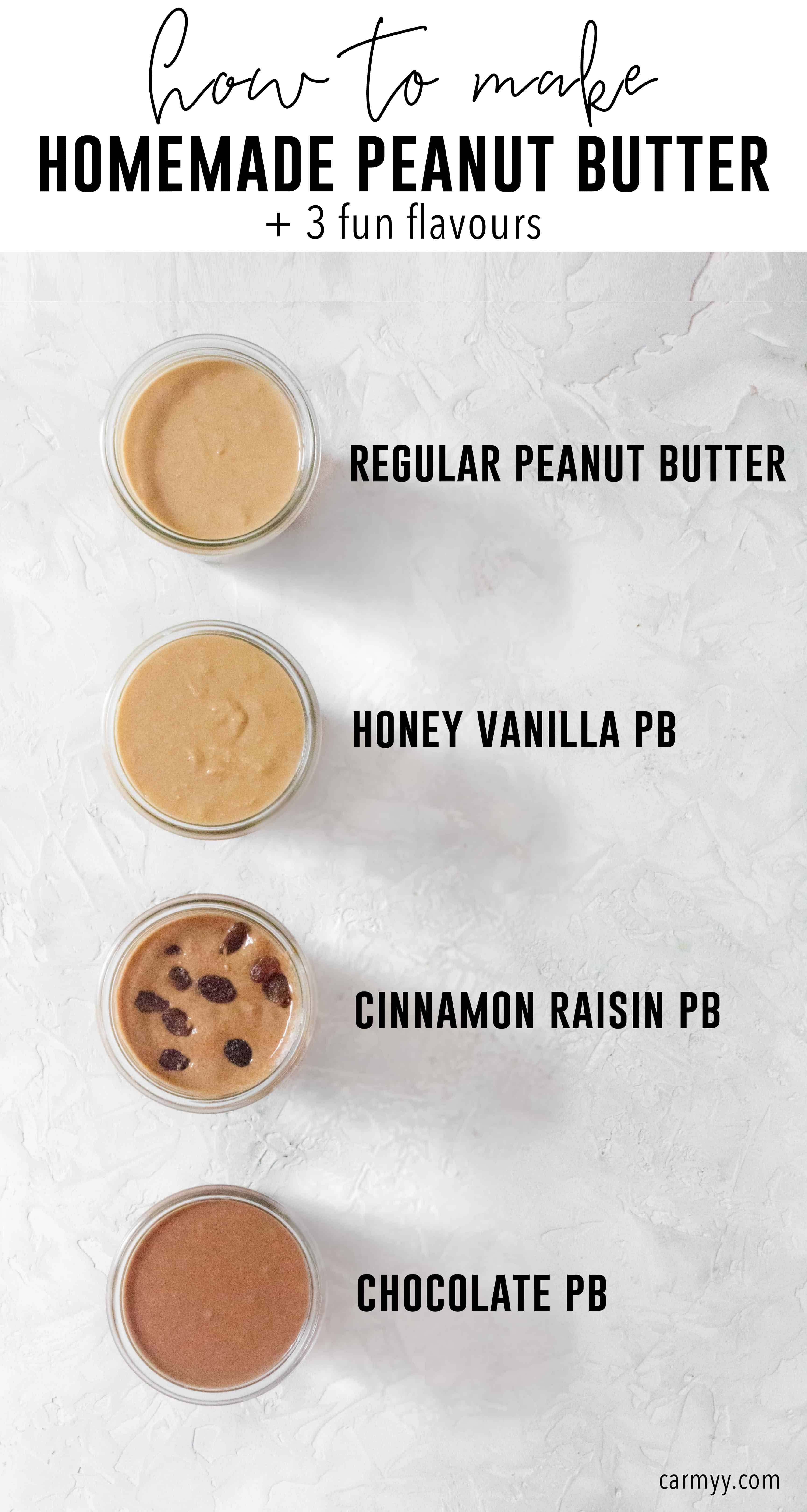 Have you ever made Homemade Peanut Butter? Homemade Peanut Butter is so easy to make at home and is much cheaper and tastier than store bought! Here's how to make your own and 3 easy variations!
