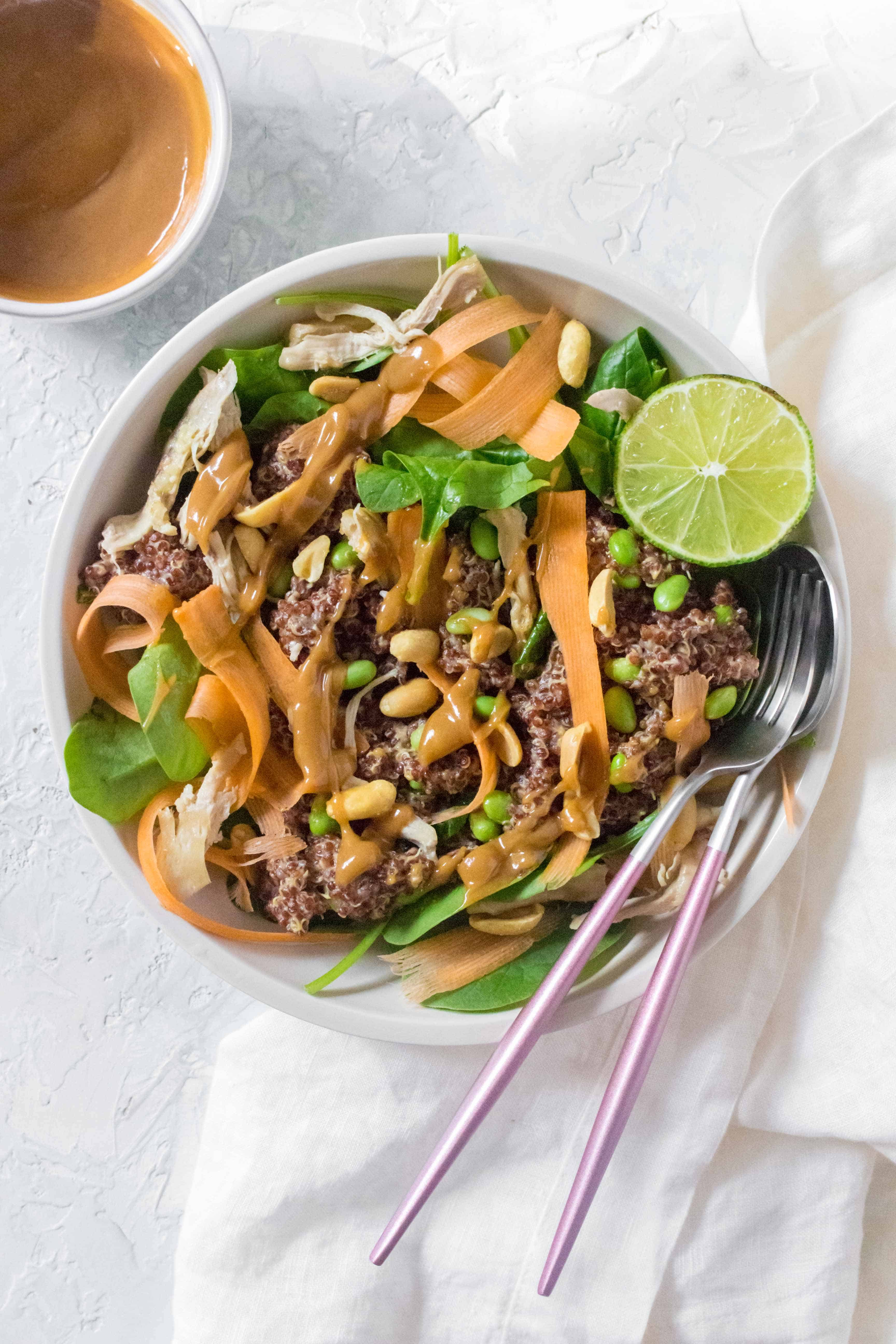 This healthy vibrant Peanut Quinoa Salad drizzled with a creamy peanut sauce is going to be perfect for your next meal prep, potluck, or picnics! Delicious chilled or served warm.