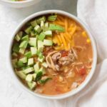 Instant Pot Chicken Chili | Slow Cooker Chicken Chili topped with avocado and cheese