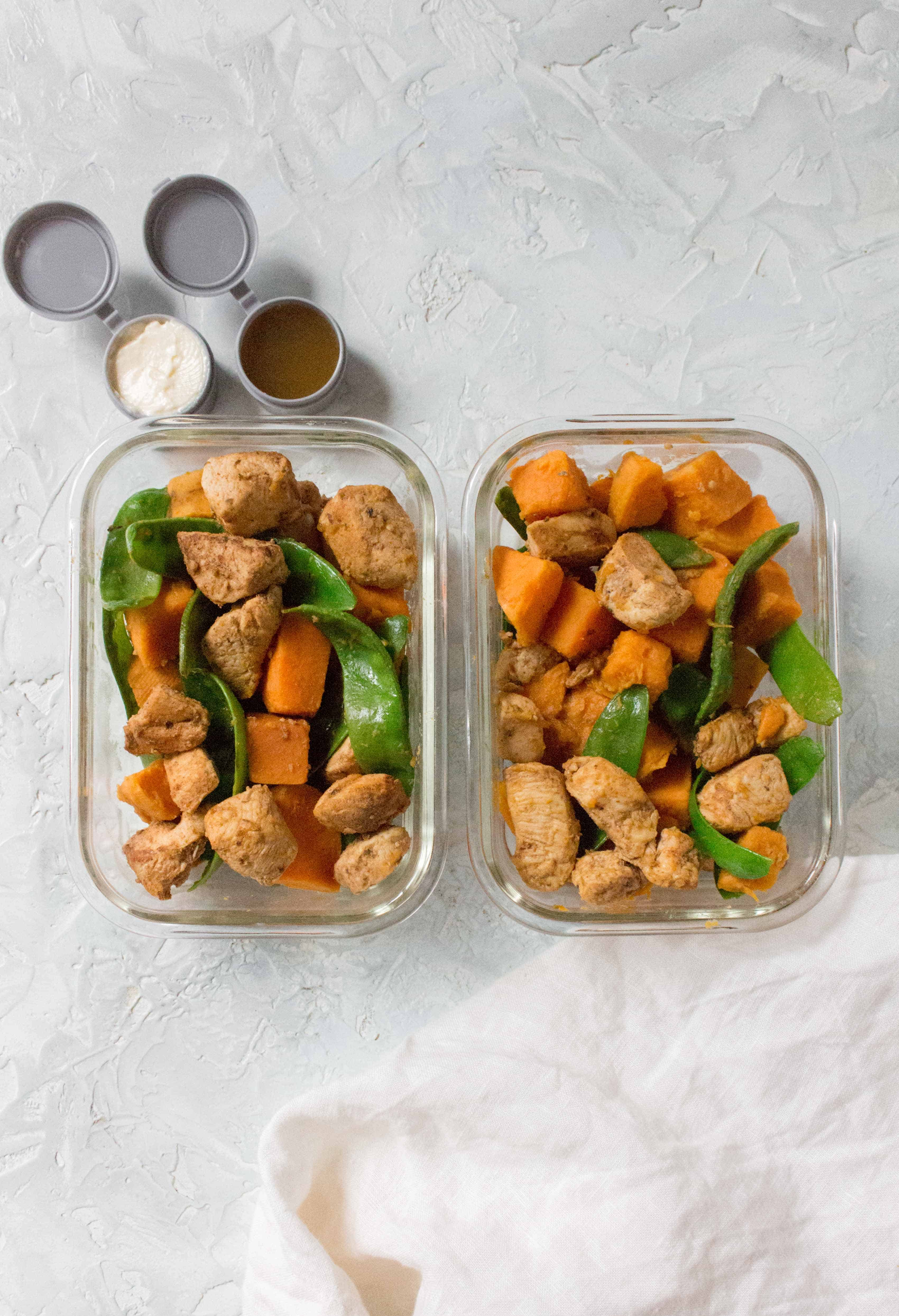 chicken and vegetable meal prep made in one pot