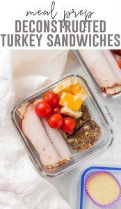 This Deconstructed Turkey Sandwich Bento Box is perfect as either a midday snack or as a meal!Deli Turkey Meal Prep | Leftover Turkey Lunch Idea