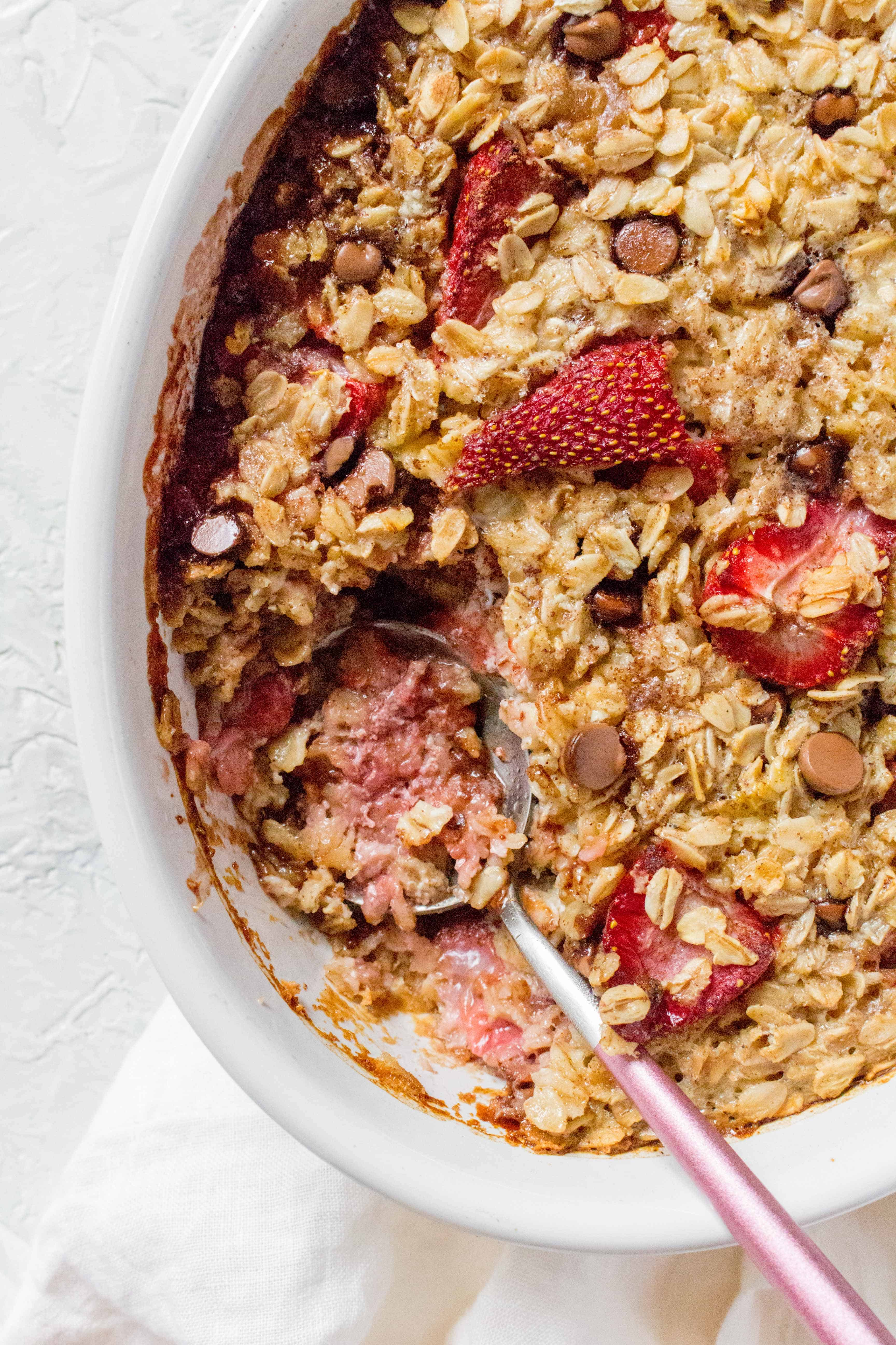 Strawberry with Chocolate Oatmeal Bake