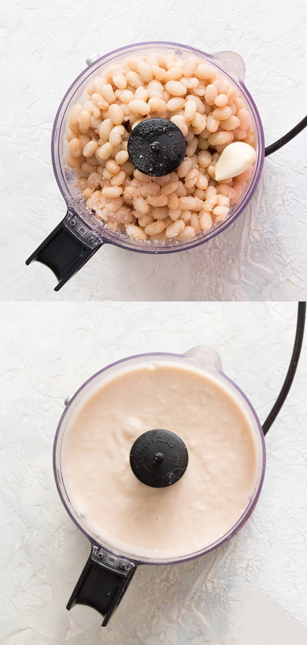 white bean dip in a food processor with ingredients